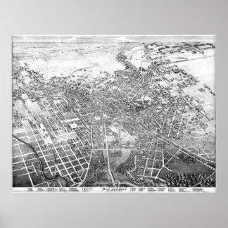 Vintage Pictorial Map of San Antonio TX (1886) BW Poster