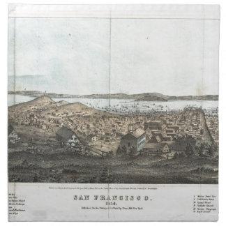 Vintage Pictorial Map of San Francisco (1854) Printed Napkin