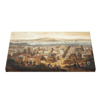 Vintage Pictorial Map of San Francisco (1860) Canvas Print