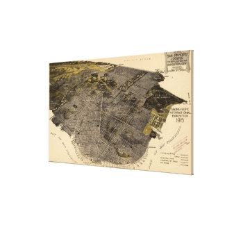 Vintage Pictorial Map of San Francisco (1915) Canvas Print