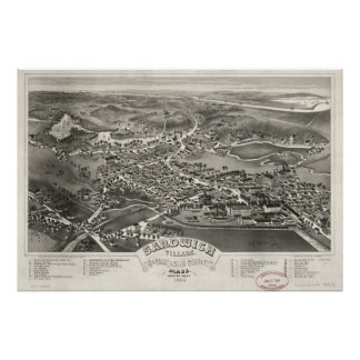 Vintage Pictorial Map of Sandwich MA (1884) Poster