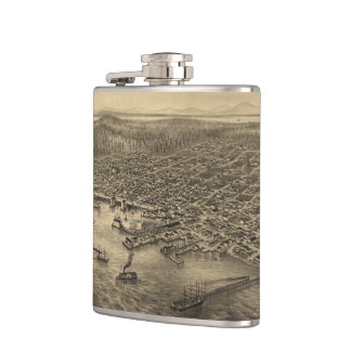 Vintage Pictorial Map of Seattle (1878) Flasks