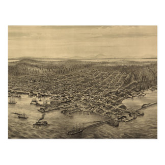 Vintage Pictorial Map of Seattle (1878) Post Card