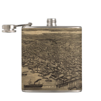 Vintage Pictorial Map of Seattle (1884) Hip Flask