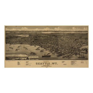 Vintage Pictorial Map of Seattle (1884) Poster