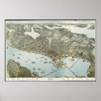 Vintage Pictorial Map of Seattle Washington (1891) Poster