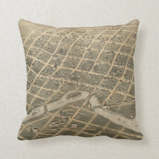 Vintage Pictorial Map of Sioux Falls SD (1881) Throw Pillow