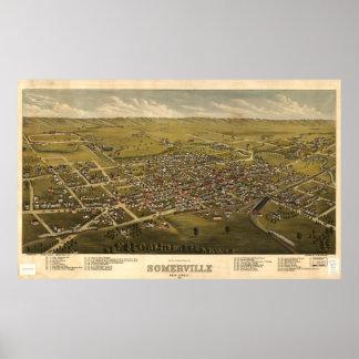 Vintage Pictorial Map of Somerville NJ (1882) Poster
