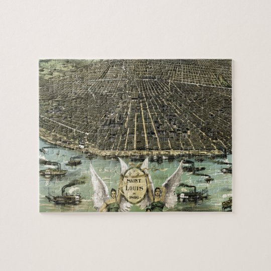 Vintage Pictorial Map of St. Louis (1896) Jigsaw Puzzle