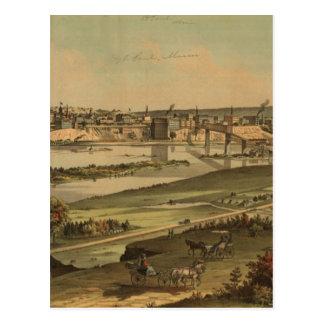 Vintage Pictorial Map of St. Paul Minnesota (1874) Postcard