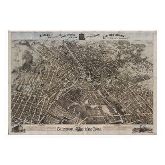 Vintage Pictorial Map of Syracuse New York (1874) Poster