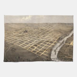 Vintage Pictorial Map of Topeka Kansas (1869) Kitchen Towel