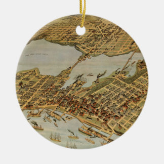 Vintage Pictorial Map of Vancouver BC (1898) Ceramic Ornament
