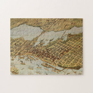 Vintage Pictorial Map of Vancouver BC (1898) Jigsaw Puzzle