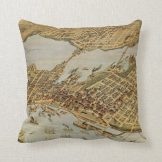 Vintage Pictorial Map of Vancouver BC (1898) Throw Pillow