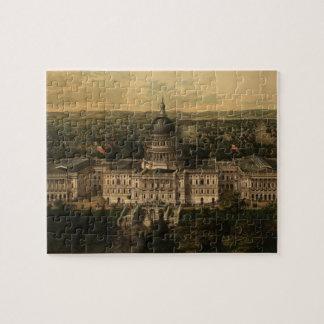 Vintage Pictorial Map of Washington D.C. (1857) Puzzles