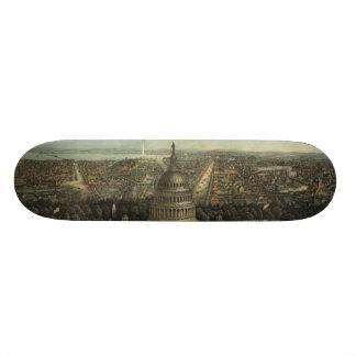 Vintage Pictorial Map of Washington D.C. (1871) Custom Skateboard