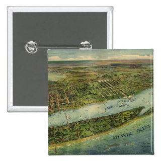 Vintage Pictorial Map of West Palm Beach 1915 Button