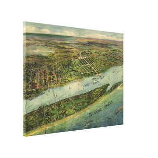 Vintage Pictorial Map of West Palm Beach (1915) Gallery Wrapped Canvas