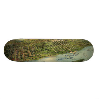 Vintage Pictorial Map of West Palm Beach (1915) Custom Skate Board