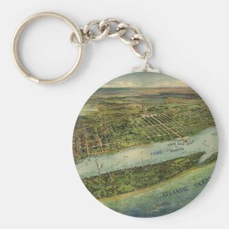 Vintage Pictorial Map of West Palm Beach (1915) Keychain
