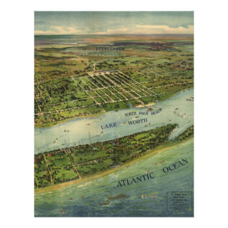 Vintage Pictorial Map of West Palm Beach (1915) Custom Letterhead