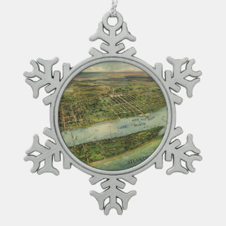 Vintage Pictorial Map of West Palm Beach (1915) Pewter Snowflake Ornament