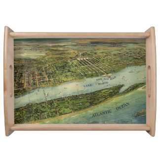 Vintage Pictorial Map of West Palm Beach 1915 Serving Tray