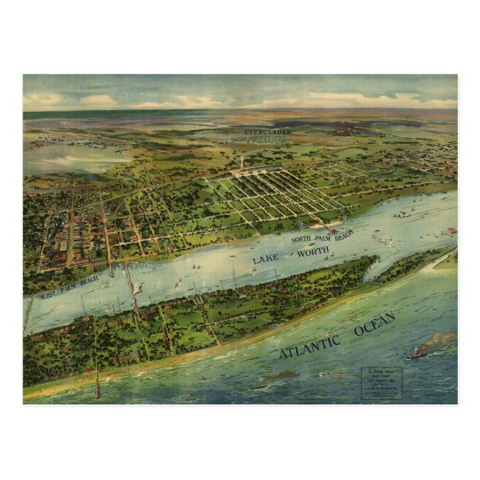 Vintage Pictorial Map of West Palm Beach (1915) Postcard