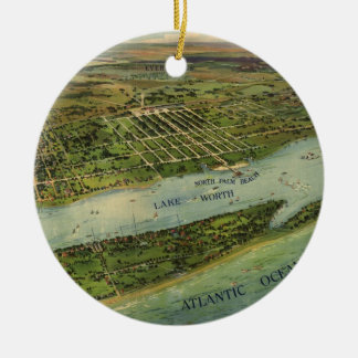 Vintage Pictorial Map of West Palm Beach (1915) Round Ceramic Ornament