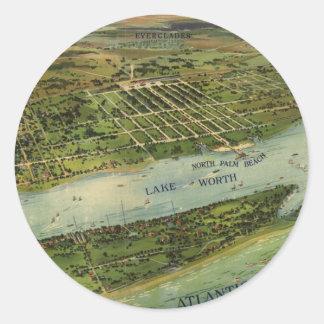 Vintage Pictorial Map of West Palm Beach (1915) Round Sticker