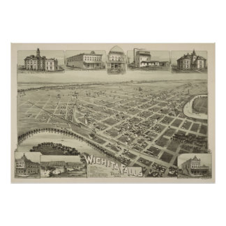 Vintage Pictorial Map of Wichita Falls TX (1890) Poster