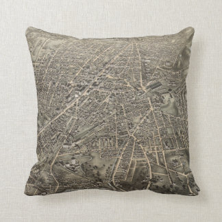 Vintage Pictorial Map of Worcester MA (1878) Throw Pillow