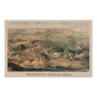 Vintage Pictorial Map of Yellowstone Park (1904) Poster