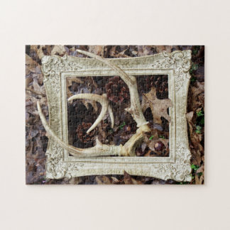 Vintage Picture Frame And White Tail Deer Antlers Puzzles