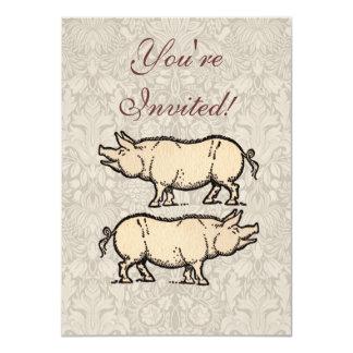 Vintage Pig Antique Piggy Illustration Card