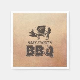 Vintage Pig Roast Baby Shower BBQ Disposable Napkin