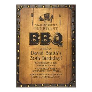 Vintage Pig Roast BBQ Dirty 30 Old Wood Birthday Card