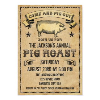 Vintage Pig Roast Invitation