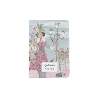 Vintage Pigeons Girl in Italy | Passport Holder