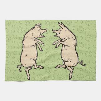 Vintage Pigs Dancing Kitchen Towel