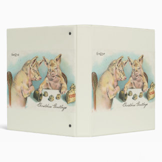 Vintage Pigs Playing Dice Vinyl Binders