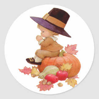 Vintage Pilgrim Boy Praying on Pumpkin Round Sticker