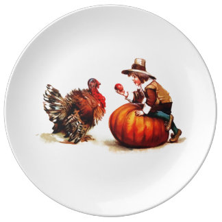 Vintage Pilgrim Kid & Turkey Porcelain Plates