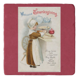 Vintage Pilgrim Lady Cooking Trivet