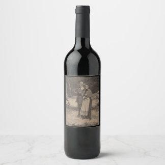 Vintage Pilgrim Thanksgiving Wine Bottle Labels