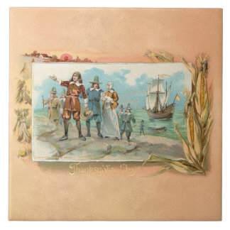 Vintage Pilgrims Landing at Plymouth Rock Tile
