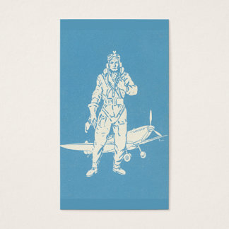 Vintage Pilot and Airplane Art Business Card