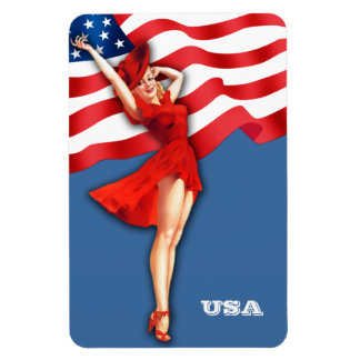 Vintage Pin-Up  Art . US Patriotic Gift Magnet