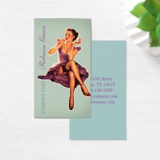 vintage pin up girl beauty salon makeup artist business card